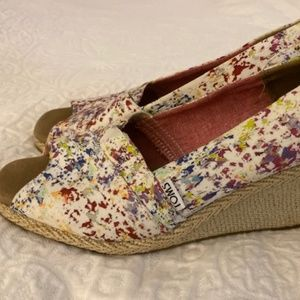 TOMS Watercolor Wedges Women's Size 10, worn ONCE!